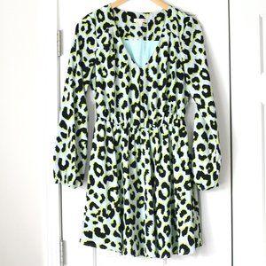 Gianni Bini blue leopard long sleeve dress cheetah
